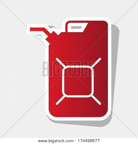Jerrycan oil sign. Jerry can oil sign. Vector. New year reddish icon with outside stroke and gray shadow on light gray background.