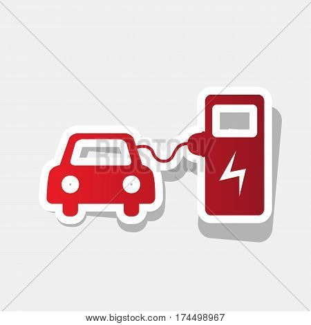 Electric car battery charging sign. Vector. New year reddish icon with outside stroke and gray shadow on light gray background.
