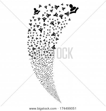 Book Reader random fireworks stream. Vector illustration style is flat black iconic symbols on a white background. Object fountain combined from scattered symbols.