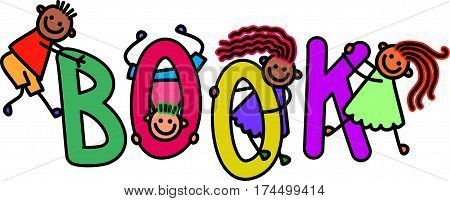 Happy and diverse children climbing over letters of the alphabet that spell out the word BOOK.