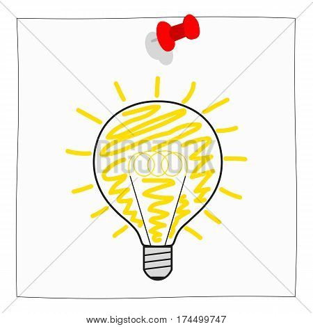 New Ideas Notice Paper with bulb Isolated on white Background poster