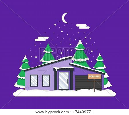 Winter night scene with house Christmas trees and snowfall. Holiday frozen background for decoration card invitation greeting poster postcard. Real estate snowy concept. Village in December time.