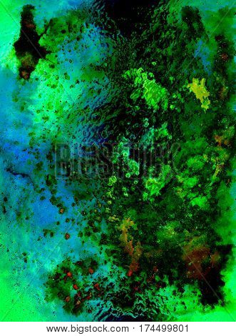 abstract background with multicolor space structures, crackles and spots, glass effect