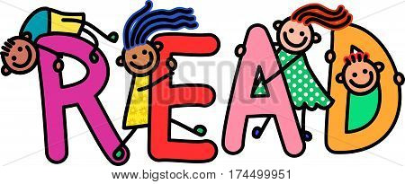 Happy and diverse children climbing over letters of the alphabet that spell out the word READ.