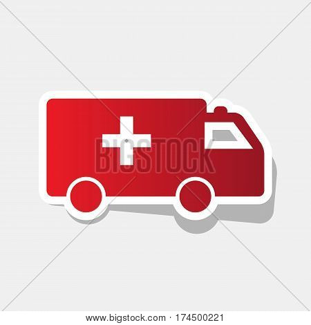 Ambulance sign illustration. Vector. New year reddish icon with outside stroke and gray shadow on light gray background.