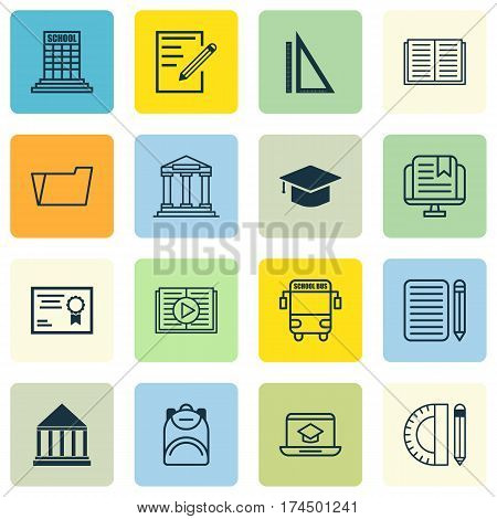 Set Of 16 School Icons. Includes Transport Vehicle, Education Center, Haversack And Other Symbols. Beautiful Design Elements.