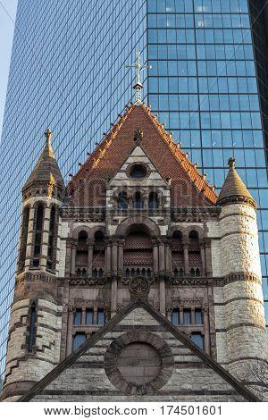 Trinity Church details, in Copley Square, Boston, MA
