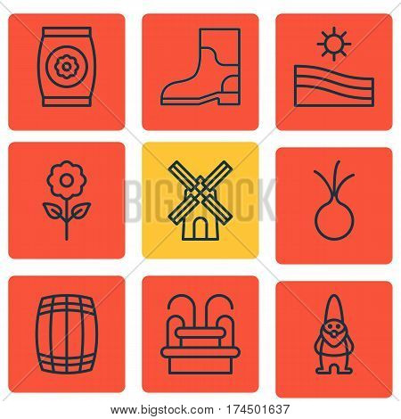 Set Of 9 Planting Icons. Includes Garlic, Rubber Boot, Mill And Other Symbols. Beautiful Design Elements.