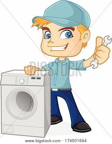 HVAC Technician holding washing machine isolated in white background
