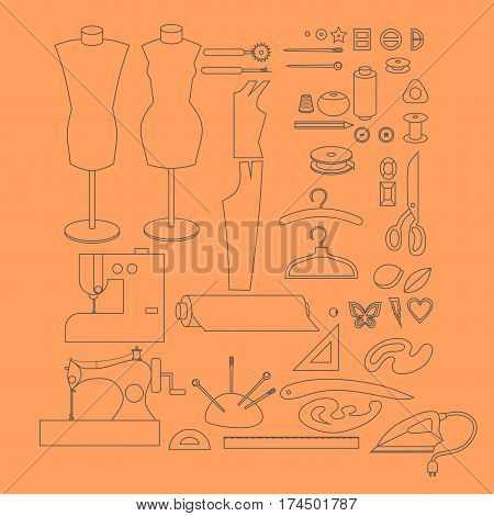 Sewing workshop equipment. Outline tailor shop design elements. Tailoring industry dressmaking tools icons. Fashion designer sew items.