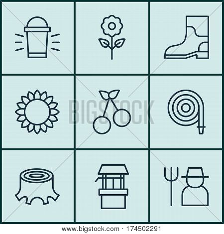 Set Of 9 Agriculture Icons. Includes Rubber Boot, Grower, Hang Lamp And Other Symbols. Beautiful Design Elements.