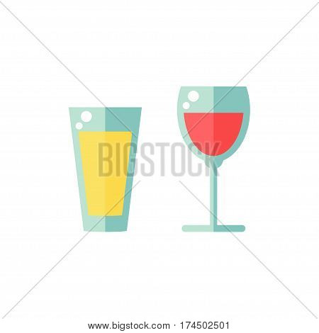 Glass isolated icon on white background. Full glass. Juice and wine. Beverage. Fresh drink. Flat vector illustration design.