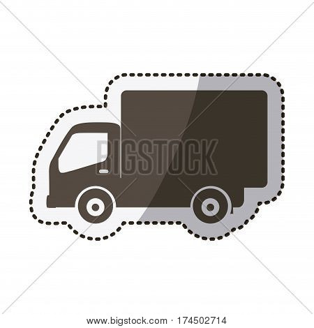 sticker silhouette transport truck with wagon vector illustration