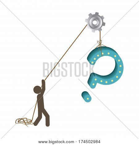 Silhouette person pulling rope question mark vector illustration