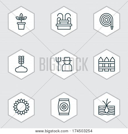 Set Of 9 Plant Icons. Includes Growing Plant, Water Monument, Cereal And Other Symbols. Beautiful Design Elements.