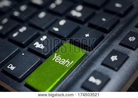Closeup message (yeah!) button keyboard of a modern computer.