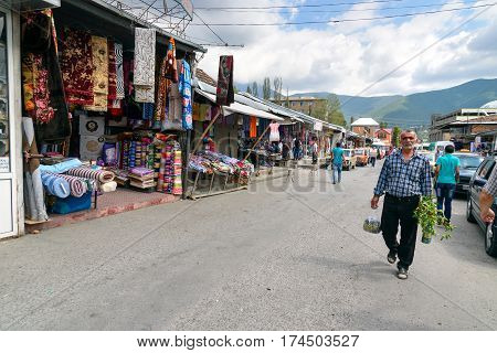 Sheki Azerbaijan - September 13 2016: Local town market. Sheki is small city situated in northern Azerbaijan in the southern part of the Greater Caucasus mountain range. It has a lot of historic attractions in particular the Palace of the Sheki Khans