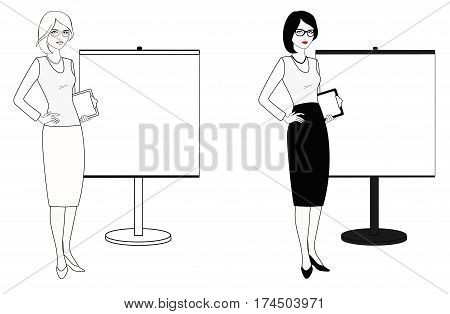 Coach is standing next to the stand. Teacher, professional employee, stand attendant, businesswoman, etc. Isolated on white. Linear, flat vector. White-black variations.
