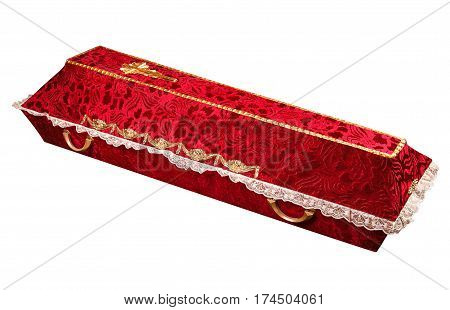 decorated cloth coffin isolated on white background with clipping path