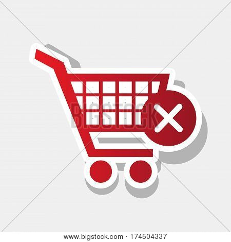 Shopping Cart with delete sign. Vector. New year reddish icon with outside stroke and gray shadow on light gray background.
