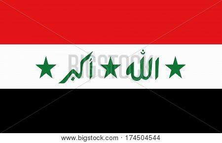 flat iraqi flag in the colors green, red, white and black