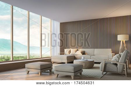 Modern living room with mountain view 3d rendering Image. There are large window overlooking the surrounding nature and mountains
