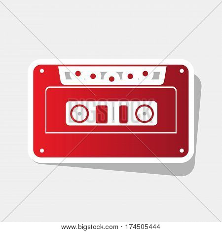Cassette icon, audio tape sign. Vector. New year reddish icon with outside stroke and gray shadow on light gray background.