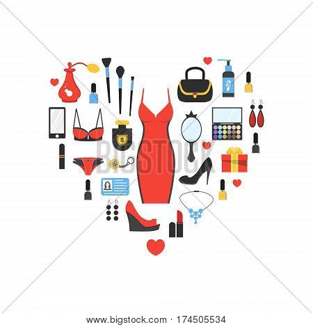 Woman's things set in heart shape. Girl accessories icons collection of shoes jewelry perfume cosmetics mirror dress underwear. Make-up things. Modern flat design. Vector illustration on white.
