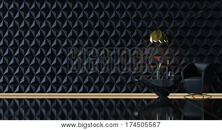 black & gold living room minimalist style. Simple black looks mysterious.The walls are decorated with geometry pattern It looks like the pictures on SciFi Movies