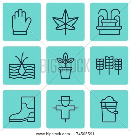 Set Of 9 Plant Icons. Includes Bugbear, Bucket, Growing Plant And Other Symbols. Beautiful Design Elements.