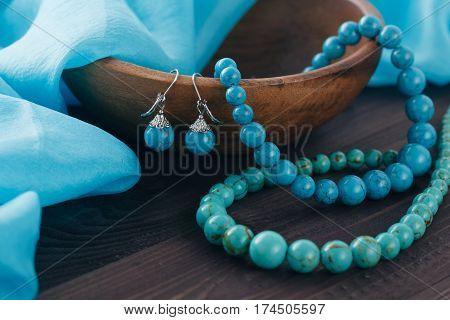 Turquoise Beads On Shawl