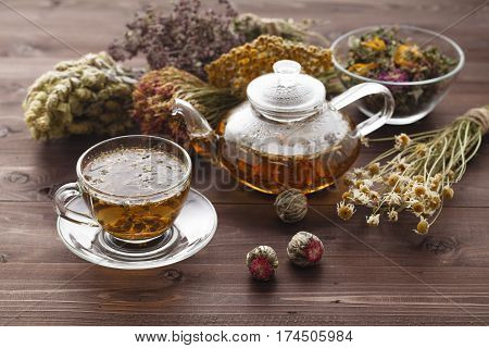 Medicinal Tea In Glass Cup With Dried Herb In Bowl
