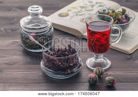 Herbal Tea Mixture In A Glass Bowl