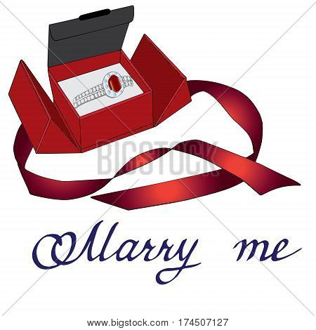 Marry me card with precious ring in box with ribbons Hand drawn sketched vector illustration. Doodle accessories