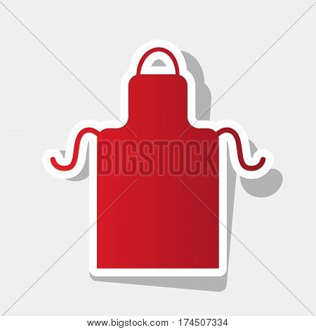 Apron simple sign. Vector. New year reddish icon with outside stroke and gray shadow on light gray background.