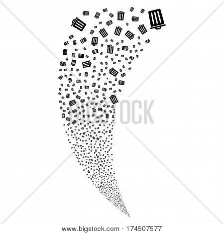 Dustbin random fireworks stream. Vector illustration style is flat black iconic symbols on a white background. Object fountain made from scattered symbols.