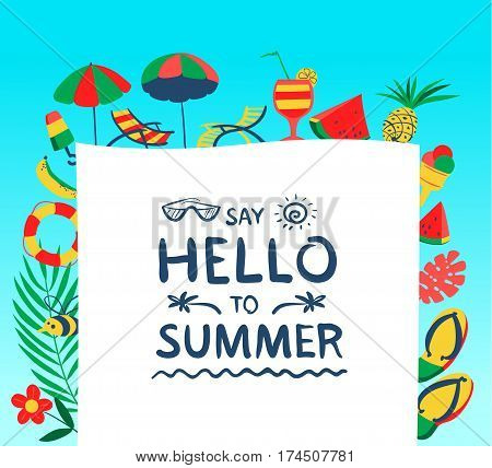 Summer background with beach objects. Vector illustration with fruits ice cream flip flop and lifebuoy. Banner with Hello summer lettering. Seasonal backdrop