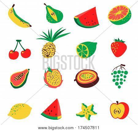 Tropical exotic fruits set. Cute fresh organic fruits collection. Vector illustration of watermelon cherry pineapple pear maracuya starfruit banana grape papaya line lemon