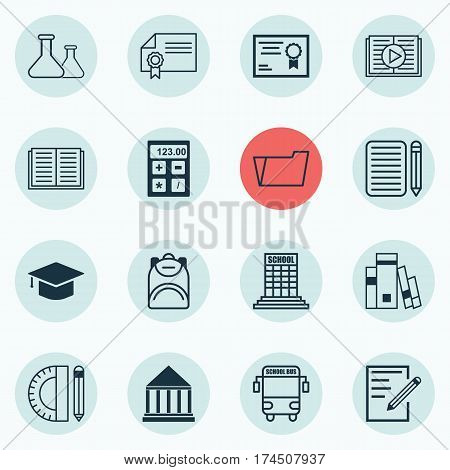 Set Of 16 School Icons. Includes Haversack, Paper, Education Center And Other Symbols. Beautiful Design Elements.