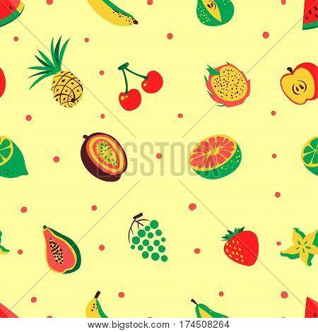 Tropical exotic fruits seamless pattern. Cute fresh organic fruits background. Vector illustration of watermelon cherry pineapple pear maracuya starfruit banana grape papaya line lemon
