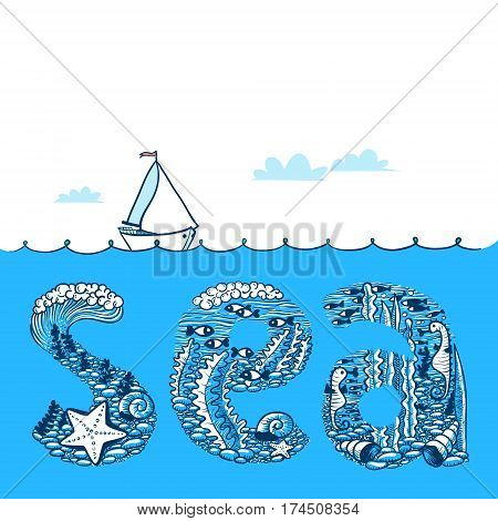 Summer background with waves and yacht. Sea doodle lettering composition with underwater life vector illustration