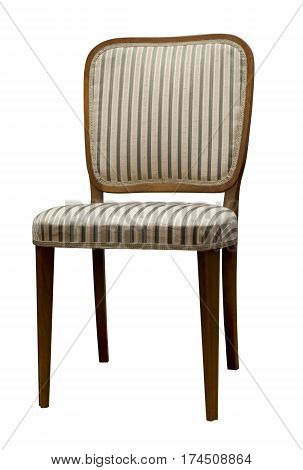 Antique Chair With Striped Fabric Isolated On White Background
