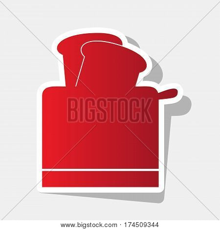 Toaster simple sign. Vector. New year reddish icon with outside stroke and gray shadow on light gray background.