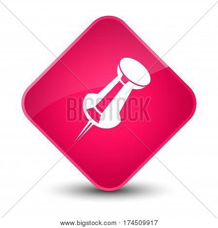 Push Pin Icon Elegant Pink Diamond Button