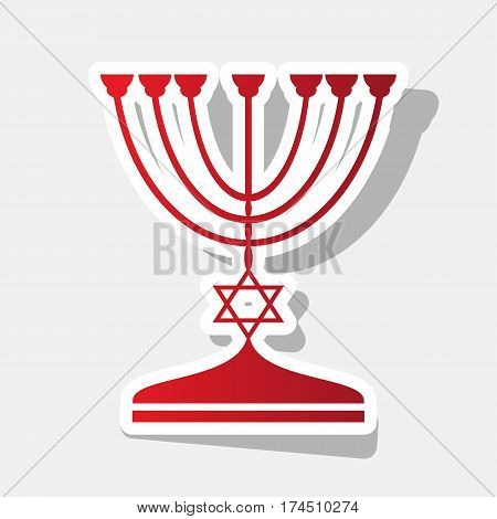 Jewish Menorah candlestick in black silhouette. Vector. New year reddish icon with outside stroke and gray shadow on light gray background.