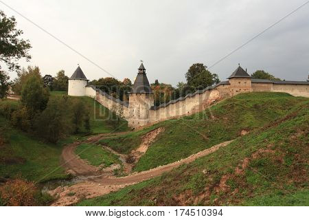 Pskov Russia September 21 2013 Towers and walls formidable medieval fortress Scenic view