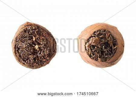 Cuban cigars isolated over white closeup. Front and back views.
