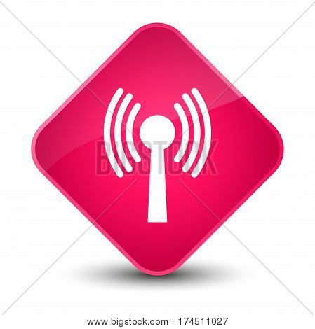 Wlan Network Icon Elegant Pink Diamond Button