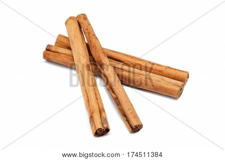 cinnamon sticks isolated on white background, food ingredients