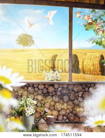 beautiful manipulated background with a wooden wall overlooking the sloping wheat field and lonely tree blue sky with a two doves and blurred daisies in the foreground.